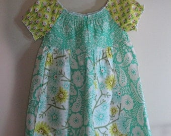 Girls Peasant Dress in Yellow and Turquoise Green Patchwork Sizes 2 to 12 Girls Dress