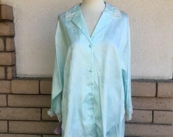 Vintage Lace Pajamas Jacquard Shirt & Pants by Miss Elaine New w/Tags Size L-XL