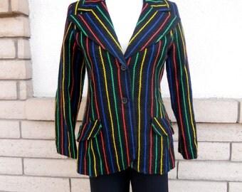 Vintage Striped Blazer Jacket . 70's Fitted Jacket . Hipster Jacket . by Bobbie Brooks XS-S