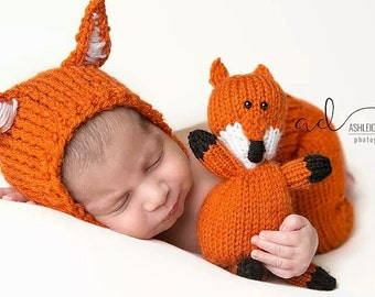 baby fox nursery - baby fox outfit - knitted baby fox outfit - baby fox hat - fox plush - fox baby shower invitation - fox baby bonnet