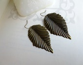 Leaf earrings- Antique bronze leaf- Antique bronze leaf earrings- Nature- Earrings- Simple- Leaf- Filigree leaf earrings
