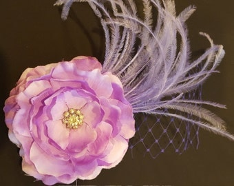 Petite Couture Lavender Feather Hair Clip