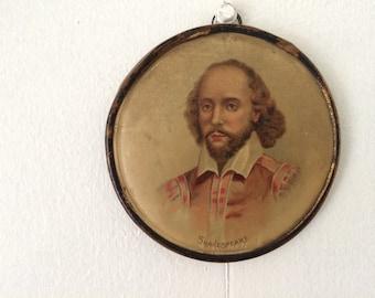 antique miniature of Shakespeare / antique art / vintage decor