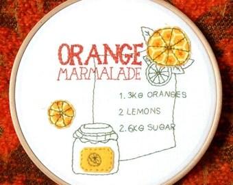 Orange Marmalade Recipe Embroidery Hoop. Retro Home Decor.