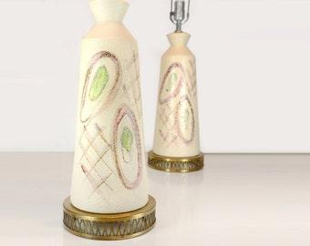 "Table lamps, Mid Century Modern, pair, 31.5"", retro, atomic, chartreuse, avocado, pink, ceramic, bold, retro, 1960s, brass, cream, large"