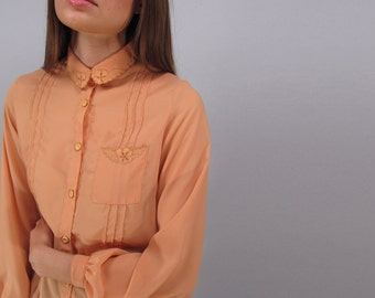 Vintage 70s Embroidered Top, Sheer Blouse, Floral Embroidered Top, Peach Blouse, Secretary Top Δ size: xs / sm