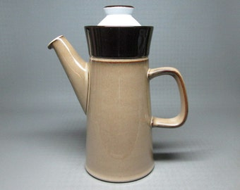 Denby pottery coffee pot with lid pattern is Country Cuisine stoneware england brown tan white