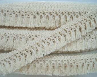 5 Yards 100% Cotton Tassel Trim, Natural trim, Ivory Trim, wholesale trim, trim lot, Cotton tassel fringe, cream tassel fringe, matte fringe