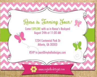 Printable Butterfly Garden Party Invitation DIY - ANY COLORS invite girl birthday shower tea explore bug pink child children chevron