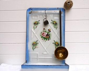 Rare  - Enamel Utensil Rack - Shabby Chic French Antique rack With Flowers - French Enamelware - French Kitchen - French Enamel