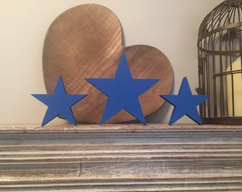 Wooden stars, set of 3, free-standing - 15cm & 20cm