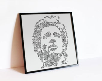 "Bruce Springsteen - The Boss - details of the E street band the telecaster -  portrait with doodle - Open Edition Print 12"" x 12"""