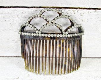 Antique Edwardian Hair Comb, Jeweled Rhinestone Headpiece, Wedding Bridal Tiara, Celluloid Tortoise-Shell Hair Comb, 1900s Hair Accessory