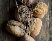 bread photograph, food photograph, dried lavender art, rustic kitchen art, country kitchen decor,brown decor,farmhouse decor,food still life