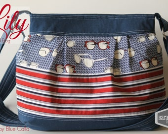 Cross Body Lily Pleated Bag in Navy, Red, White, stripes, sunglasses, tote purse shoulder bag diaper