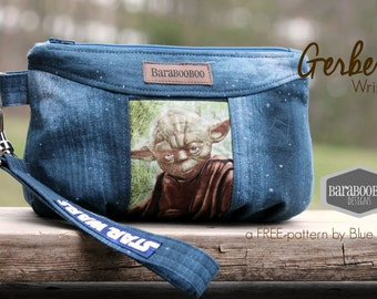 Gerbera Wristlet made from Star Wars fabric and sky fabric