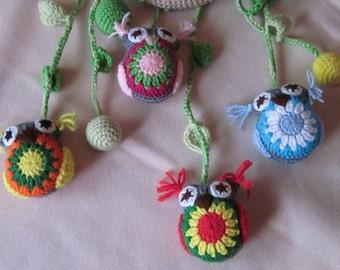 Crochet Owl Amigurumi Doll Mobile, Crib Mobile, Baby Mobile, Nursery Mobile, Colorful Owl Mobile, Great Baby Shower Gift