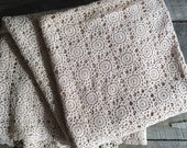 Vintage Oblong Crocheted Tablecloth