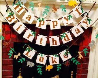 Safari Birthday Banner - Jungle HAPPY BIRTHDAY Decor - Jungle birthday party decor - custom childs name birthday banner