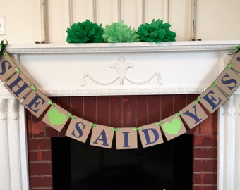 Bridal Shower Decorations - She SAID YES Banner - Couples Engagement decoration  - Navy and Lime Bridal shower Decor - you color choice