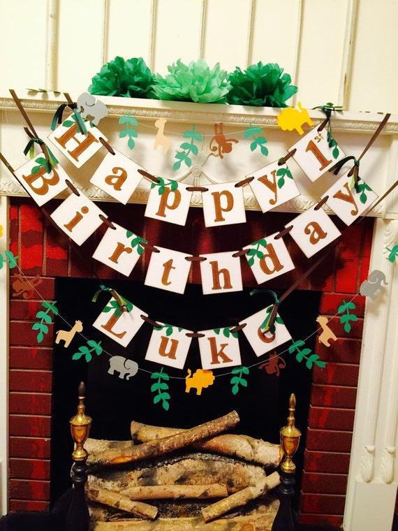Very best Safari Birthday Banner - Jungle HAPPY BIRTHDAY Decor - Jungle  EE29