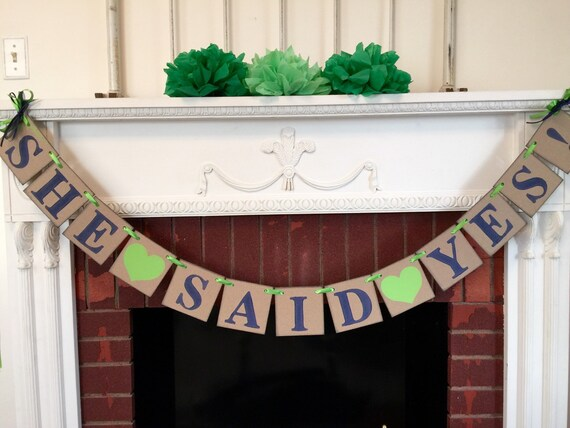 Bridal shower decorations she said yes banner couples for Yes decoration