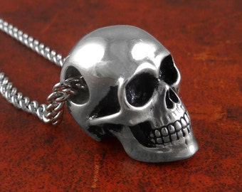 """Human Skull Necklace - Antique Silver Skull Jewelry on 24"""" Antique Silver Chain"""