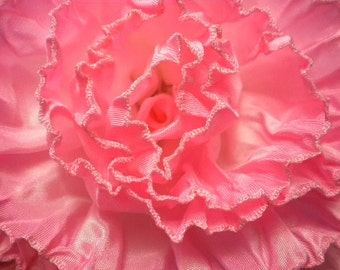 Big Bright Pink Rose Ribbon Flower Millinery Applique