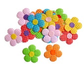 Fabric flower felt patch spotty polka dot fabric assesories colourful flowers appique childrens crafts