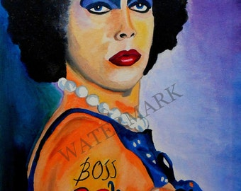 TIM CURRY  as Dr. Frank N. Furter from Rocky Horror Picture Show Hand Painted Oil Painting 16 x 20