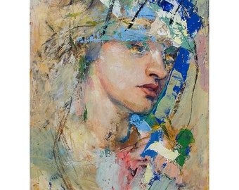 Original Figure Painting oil on canvas - Head42416 - 11 x 14 inches