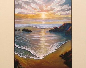 Hawkins Art Hand made plein air artist Impressionist sunset seascape sea marine matted Giclee print on archival 100# heavy stock Gift Sale