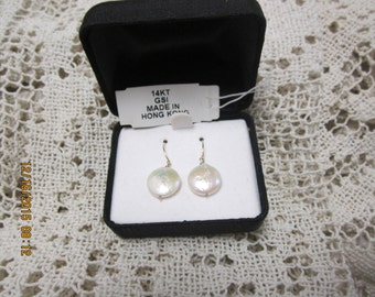 Fresh Water Coin Pearls, Pierced Earrings with 14kt, GSI Wires