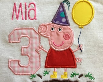 Peppa Pig White Embroidered Appliqued Tee Shirt sizes 2T to Adult