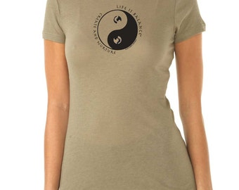 Life is Balance® Women's Fitted Cap-Sleeve Parenting T-Shirt