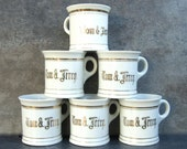 6 Vintage Tom and Jerry Mugs, White Gold Trim, Japan, 1950s Collectible Collection, Children's Cups, Mid Century Holidays