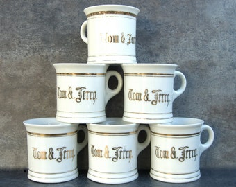 6 Vintage Tom and Jerry Mugs, White Gold Trim, Japan, 1950s Collectible Collection, Children's Cups