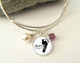 Footprint Bracelet, Expandable Charm Bracelet, Baby Footprint Jewelry