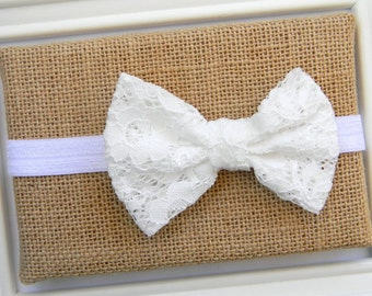 Baby Bow Headband - White Bow Headband - White Lace Bow Headband
