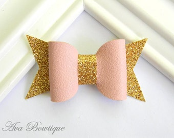 Glitter Bow Hair Clip - Bow Hair Clip - Pink Bow Hair Clip - Glitter Bow Clippie