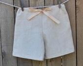 Drawstring linen shorts, white linen shorts, Boys shorts, many colors...3m,6m,9m,12m,18m,2t,3t,4t,5,6,7,8