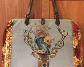 Weekender overnight carpet bag with deer in hat tapestry