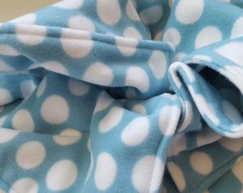Blue Polka Dot Fleece Blanket-Ready to Ship