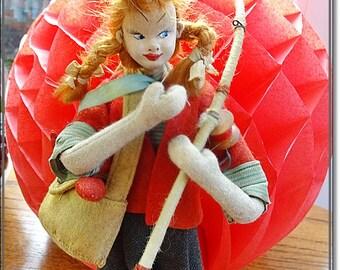 Vintage Doll, Klumpe Doll, Roldan Dolls, Roldan Klumpe Fishing Doll, Girl Fishing Doll, Vintage Doll, Boudoir Doll, Collectors Doll