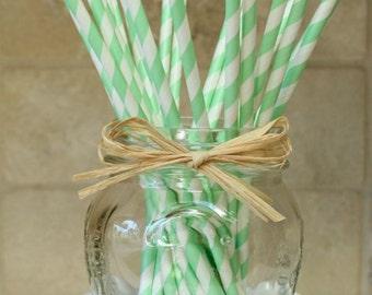 Mint Green Stripe Straws