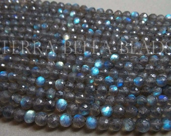 Full 13 inch strand SPECTROLITE LABRADORITE faceted round gem stone beads 4.5mm