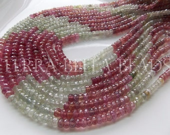 """7"""" half strand UMBA SAPPHIRE faceted precious gem stone rondelle beads 4.5mm - 5mm pink green"""