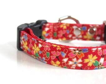 Japanese kimono design Sakura Dog Collar - red