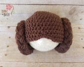 Princess Leia Star Wars Hat, Newborn Photography Prop