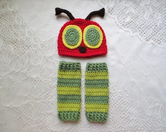 Green Stripe Bug Hat and Leg Warmers - Photo Prop Set - Available in Newborn to Toddler Size - Any Color Combination